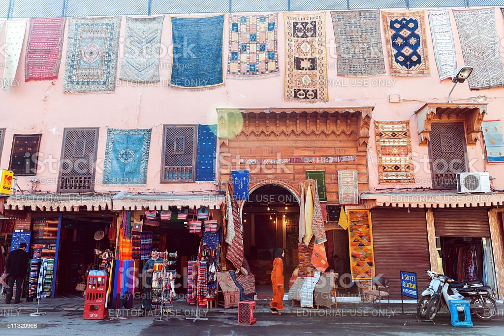 Rug Street Shop, Medina, Marrakech, Morocco,Noerth Africa stock photo
