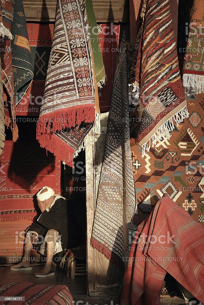Rug Vendor in Morocco royalty-free stock photo
