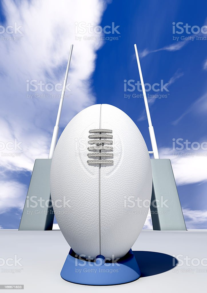 Rugby Ball Closeup Infront Of Posts royalty-free stock photo