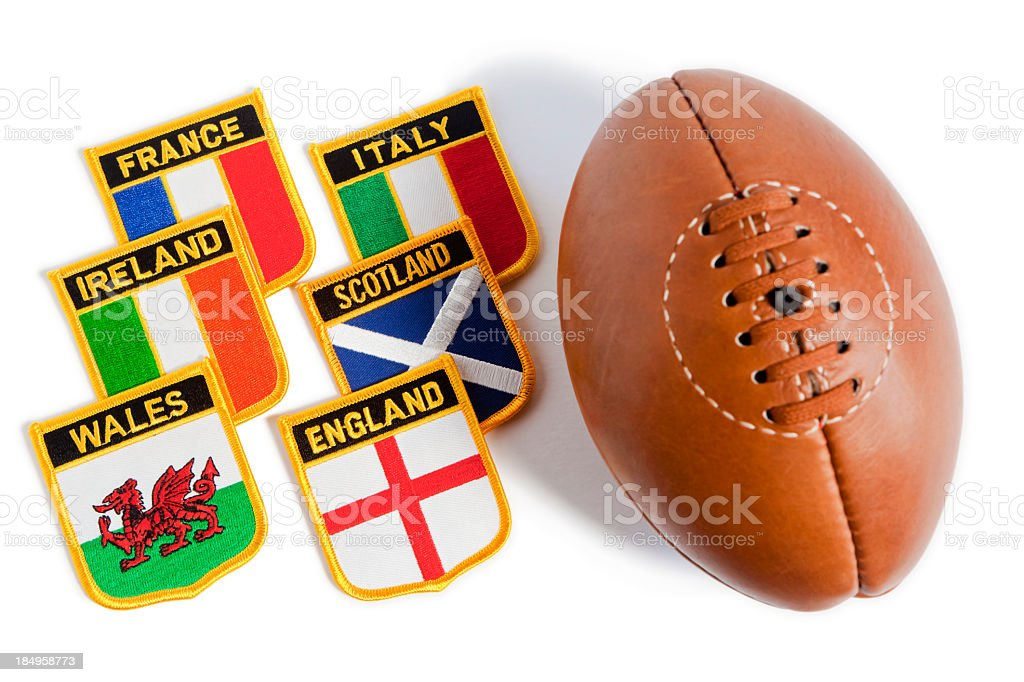 Rugby ball with flag patches from six nations stock photo