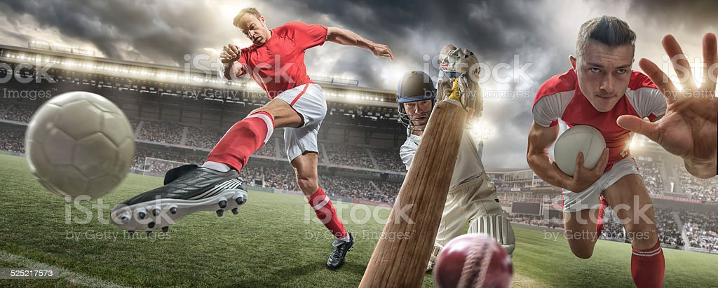 A close up wide angle composite image of soccer player kicking...