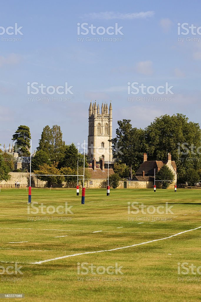 Rugby Field At Oxford University stock photo