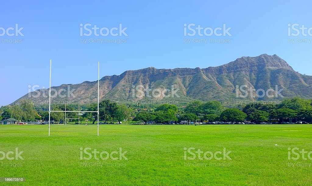 Rugby fields and mountain views stock photo