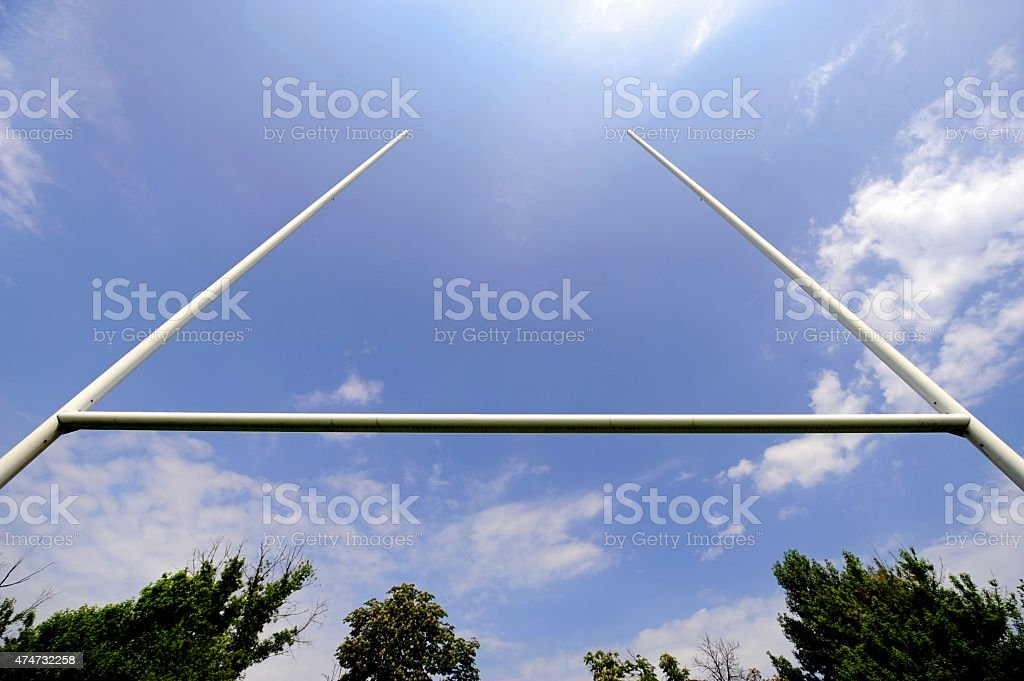 Rugby goal posts stock photo
