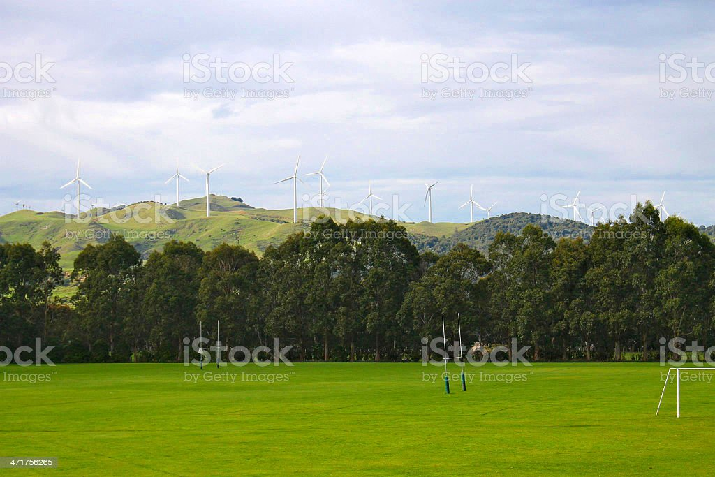 Rugby Goal Posts With Eolian In Background stock photo