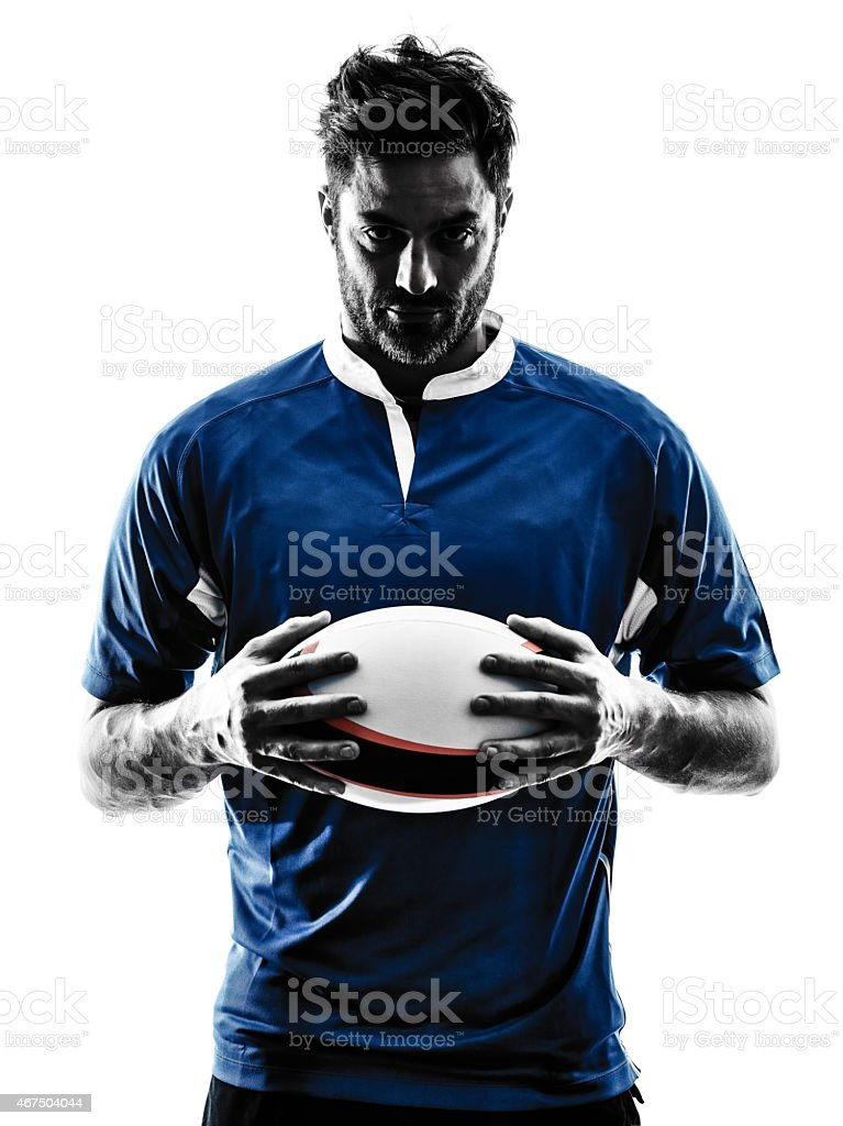 rugby man player silhouette stock photo