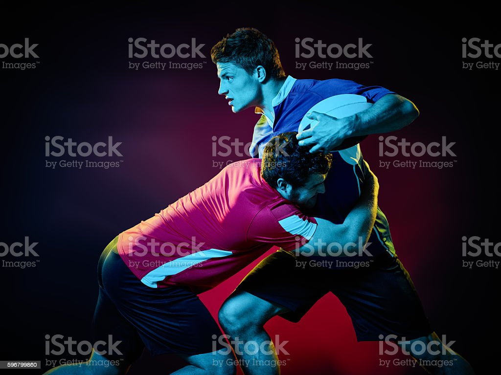 rugby men players stock photo