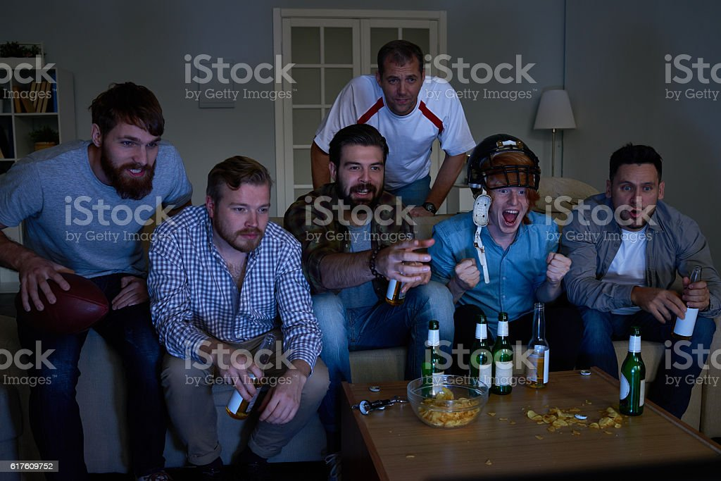Rugby on TV stock photo