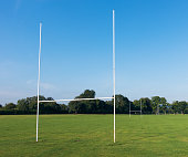 Rugby pitch and try-line goal posts in a public park