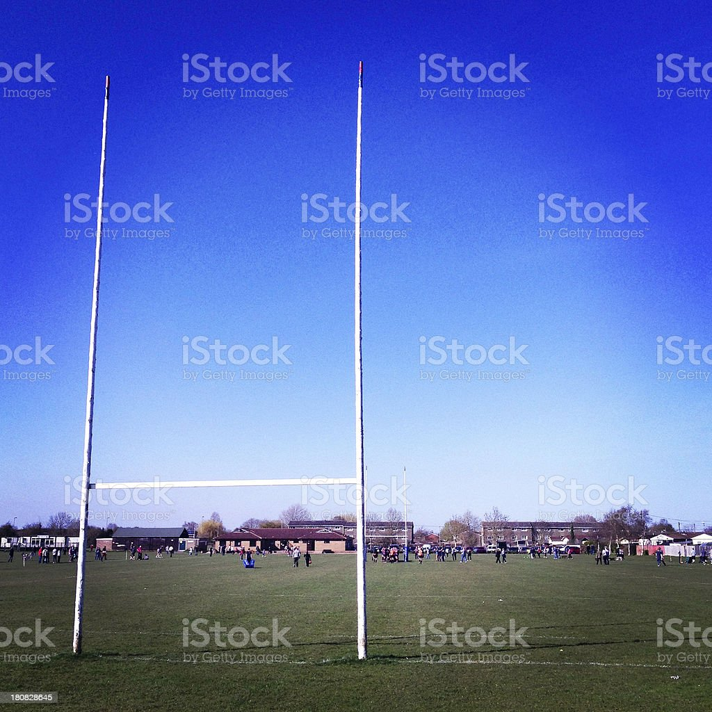 Rugby pitch stock photo
