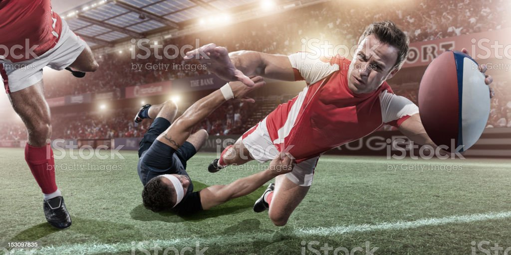 Rugby Player About To Score royalty-free stock photo