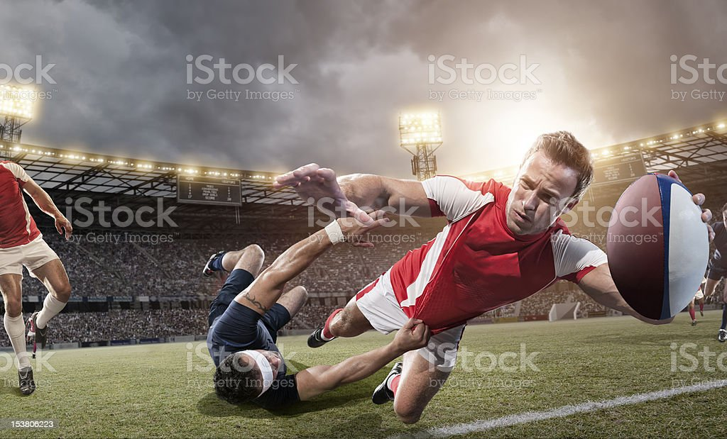 Rugby Player About To Score stock photo