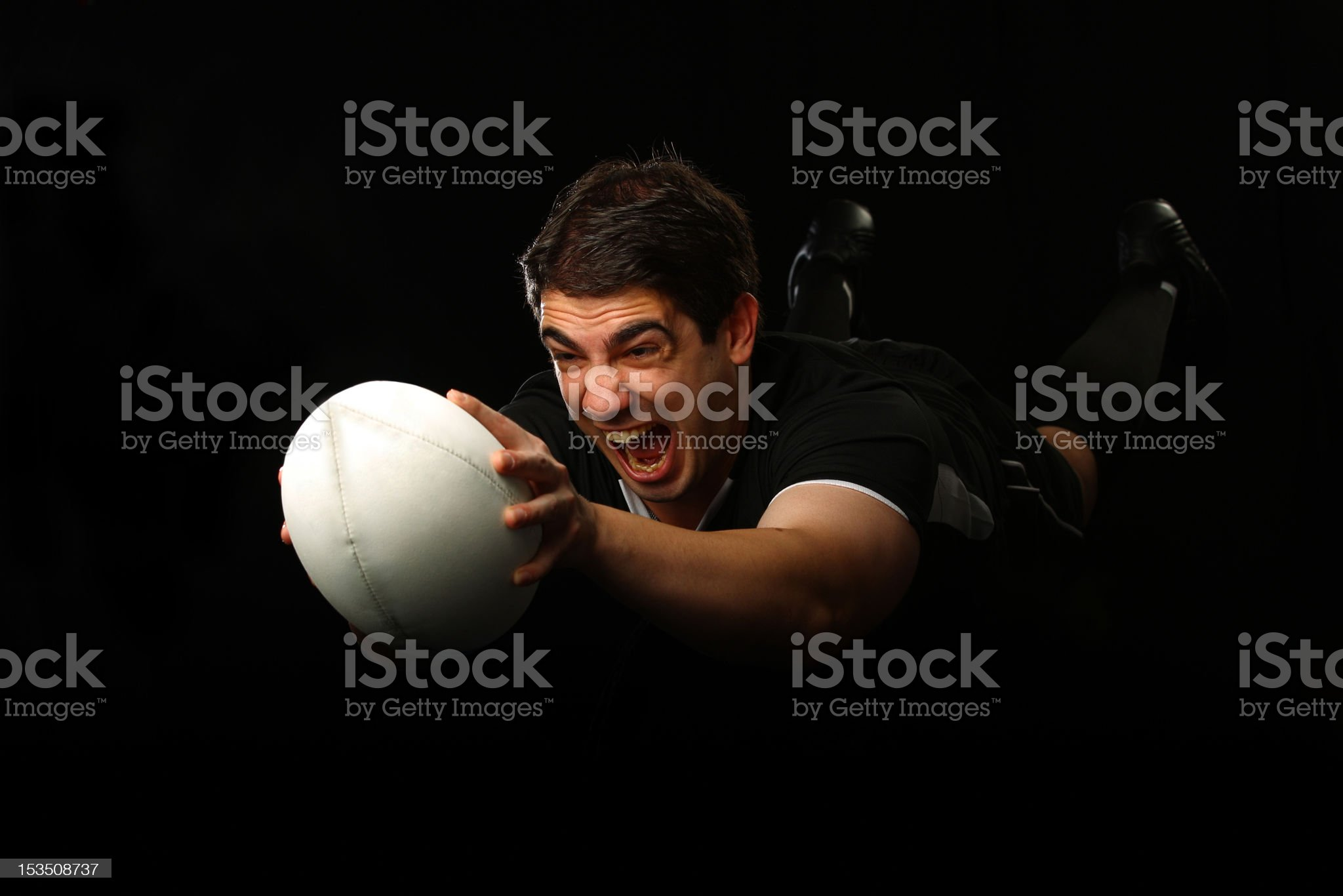 Rugby Player Dives with the Ball royalty-free stock photo