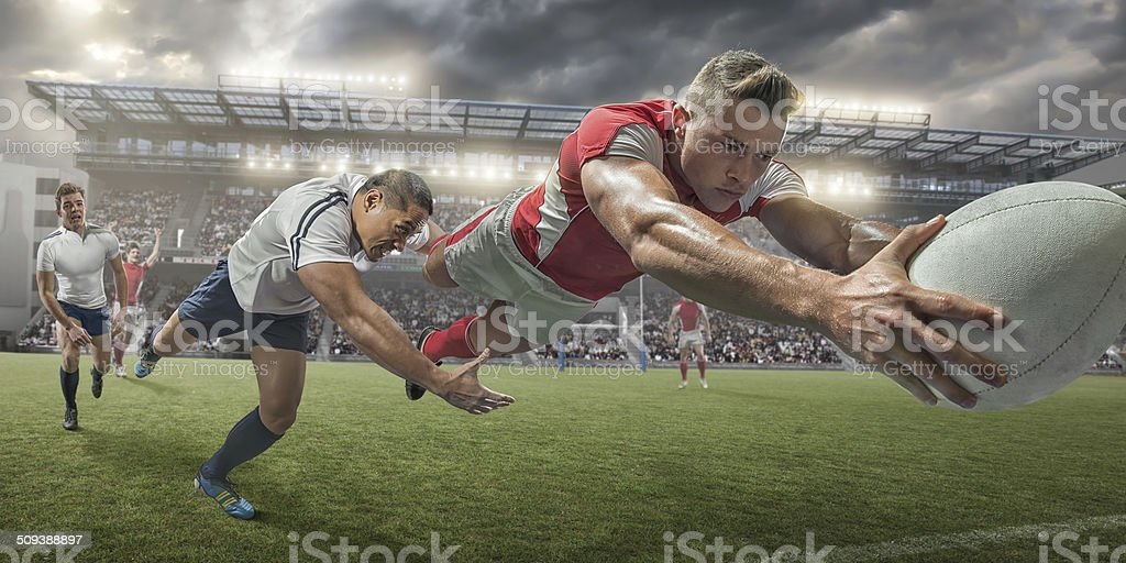 Rugby Player Scoring stock photo