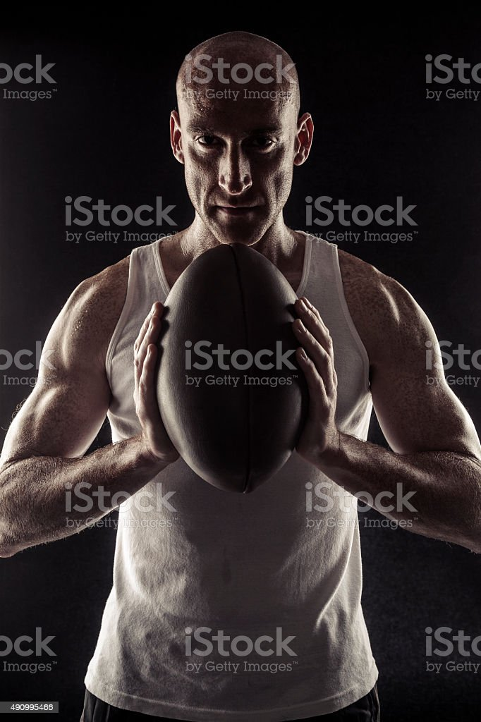 Rugby Player Sweating After The Match stock photo