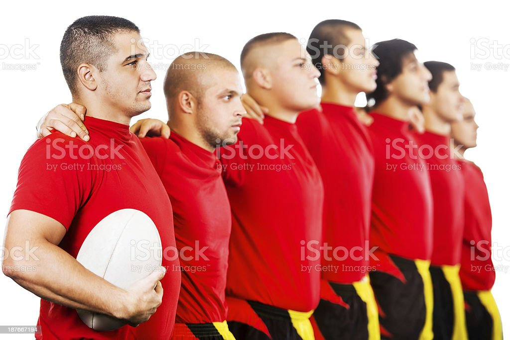 Rugby players in a row. royalty-free stock photo