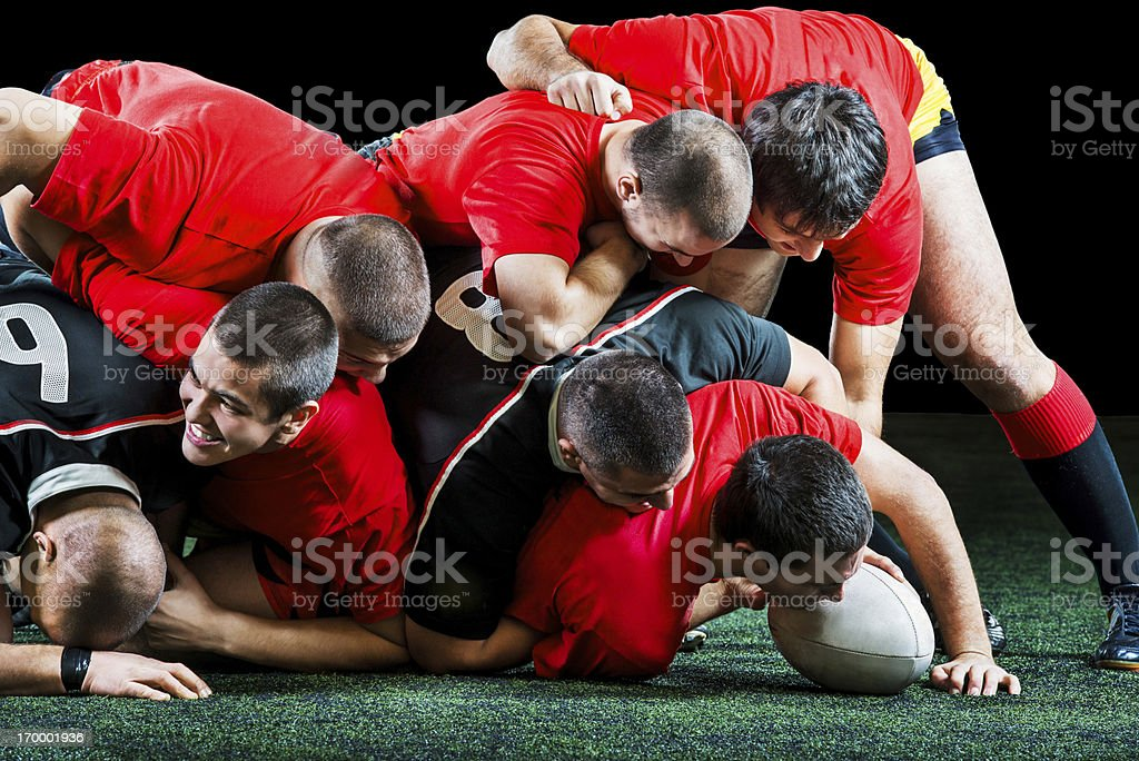 Rugby players in action. royalty-free stock photo