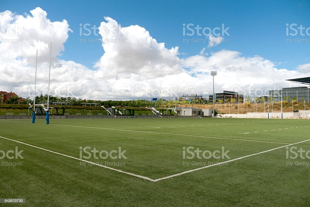 Rugby playing field corner stock photo