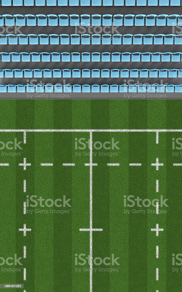 Rugby Stadium Top View Section stock photo