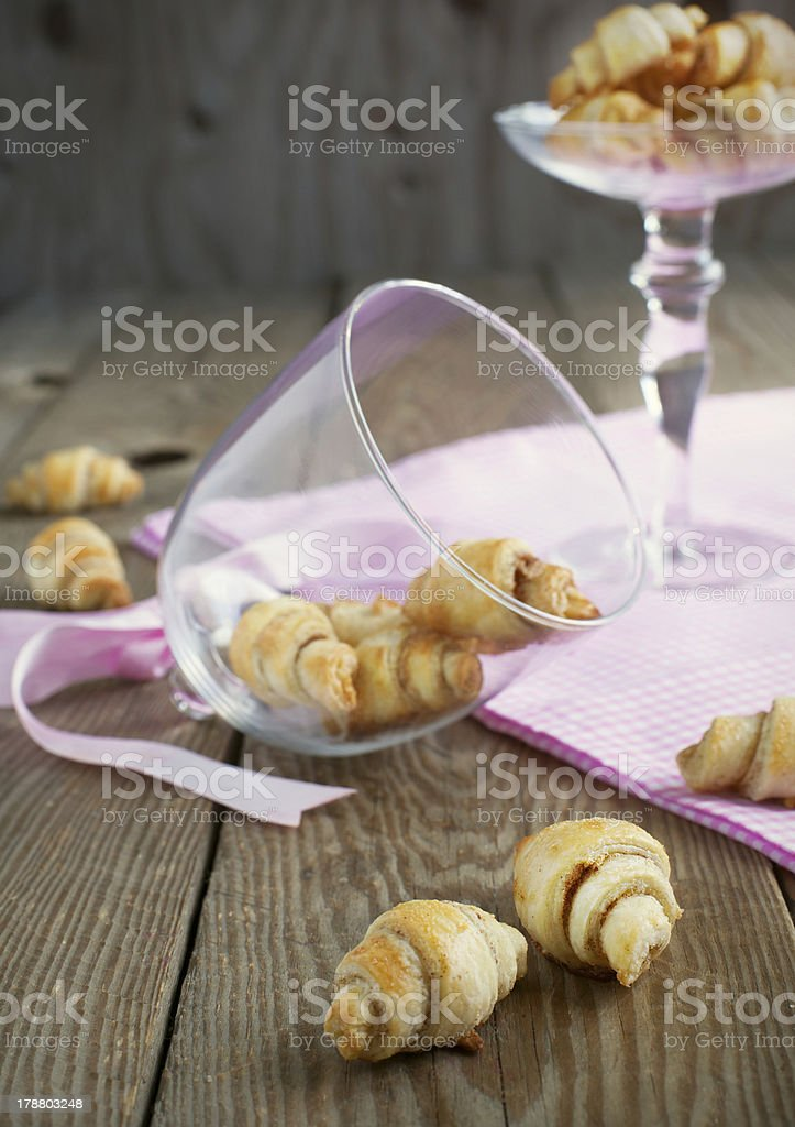 Rugelach with cinnamon and sugar filling. royalty-free stock photo