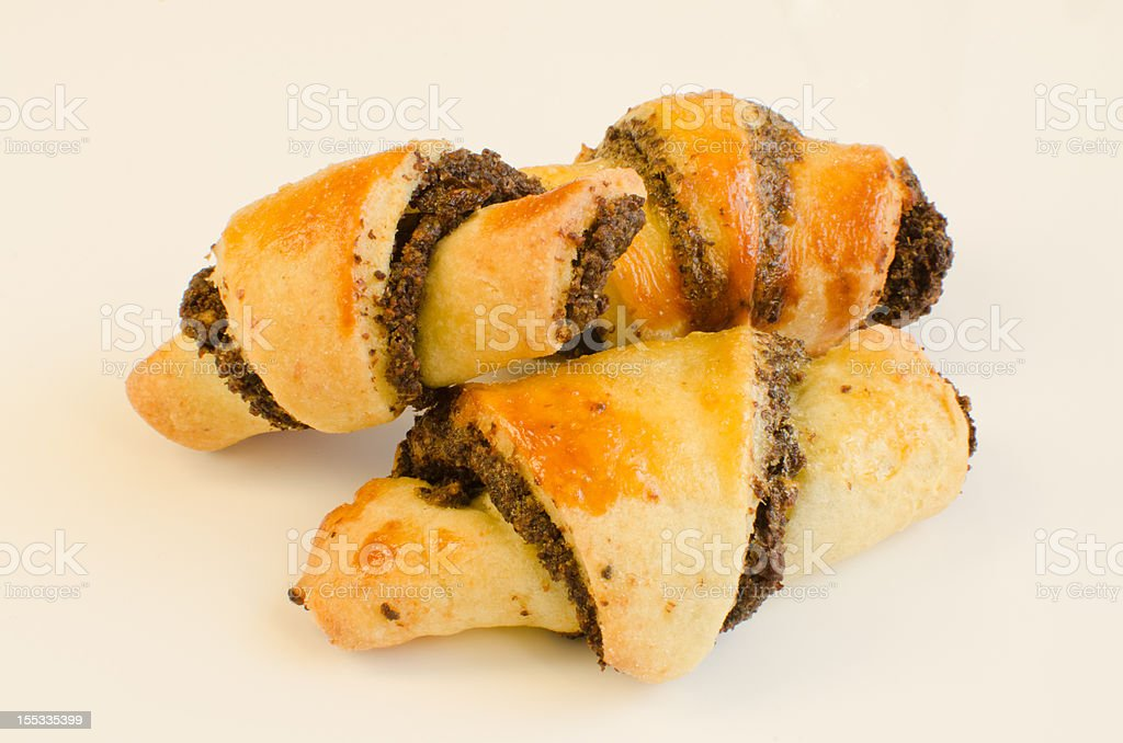 Rugelach with poppy seed filling royalty-free stock photo