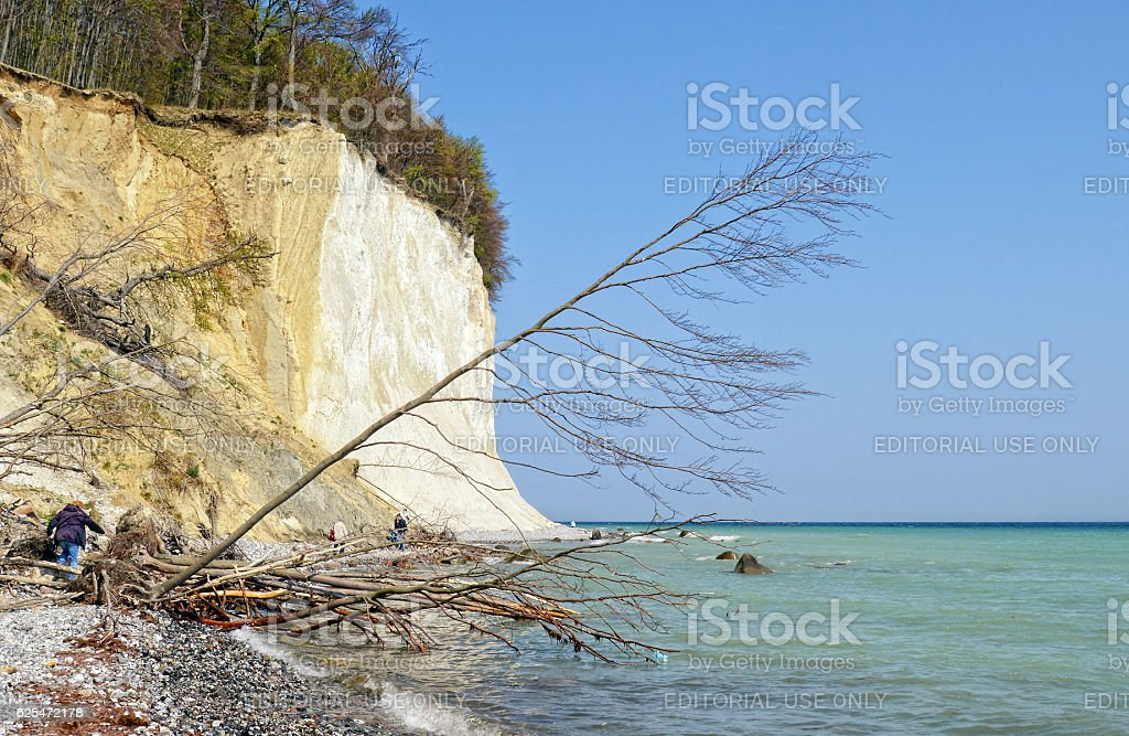 Rugen island in autumn time. chalk rock cliff stock photo