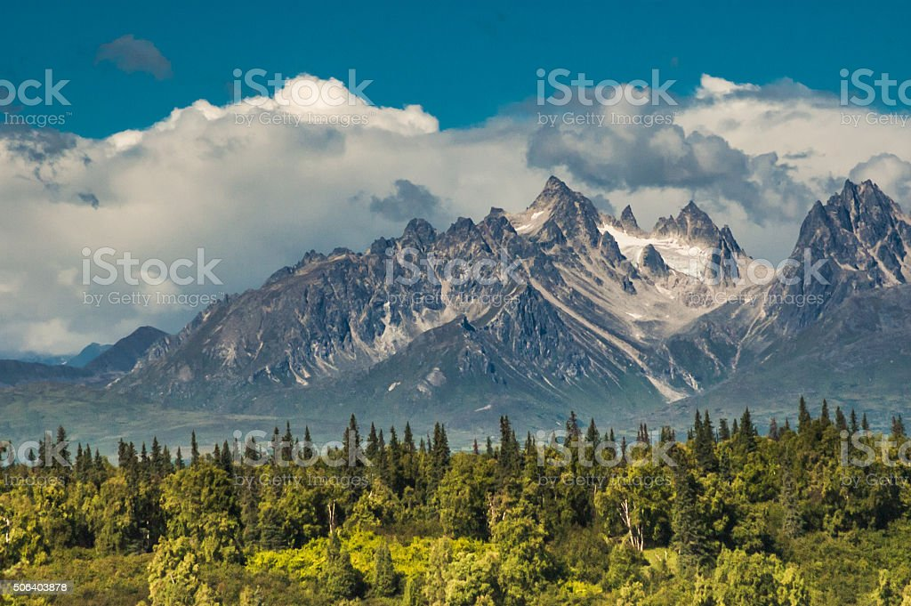 Rugged Alaskan Mountains stock photo