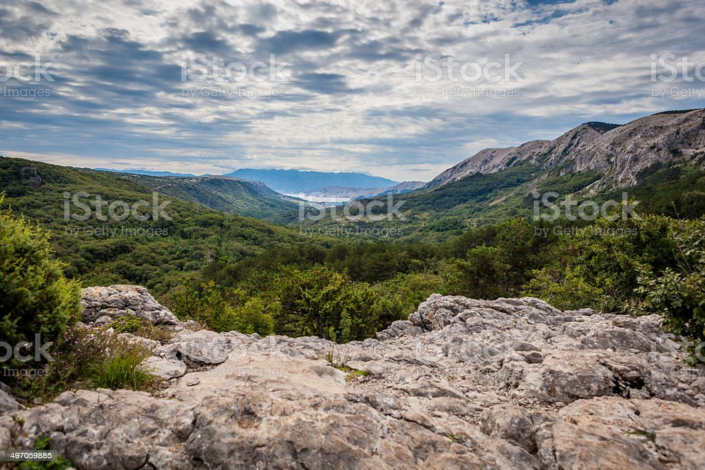 Rugged beauty of the Croatian landscape on the island Krk stock photo