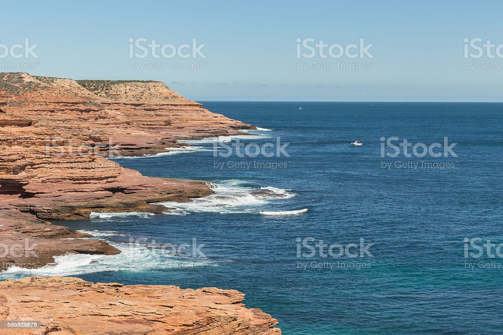 Rugged Coastal Layered Sedimental Rock Formation at Kalbarri National Park stock photo