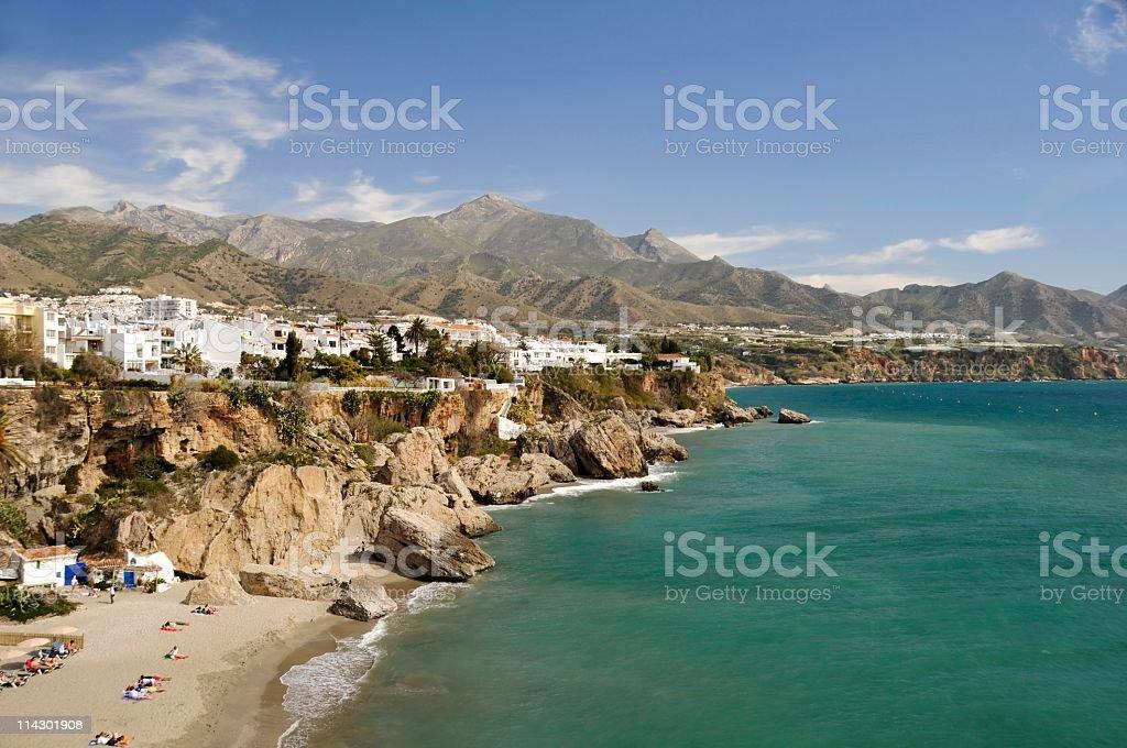 Rugged coastline in Nerja in Malaga, Spain stock photo