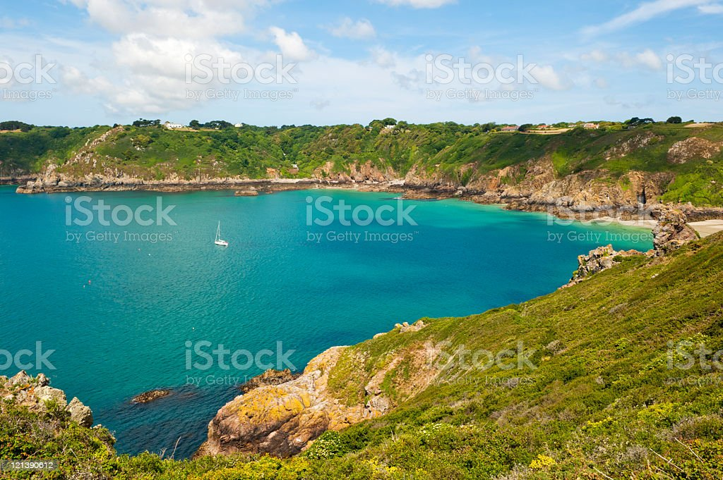 Rugged coastline of Guernsey stock photo