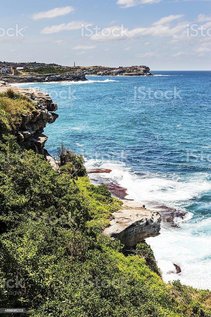 Rugged coastline on the Bondi to Coogee walk stock photo