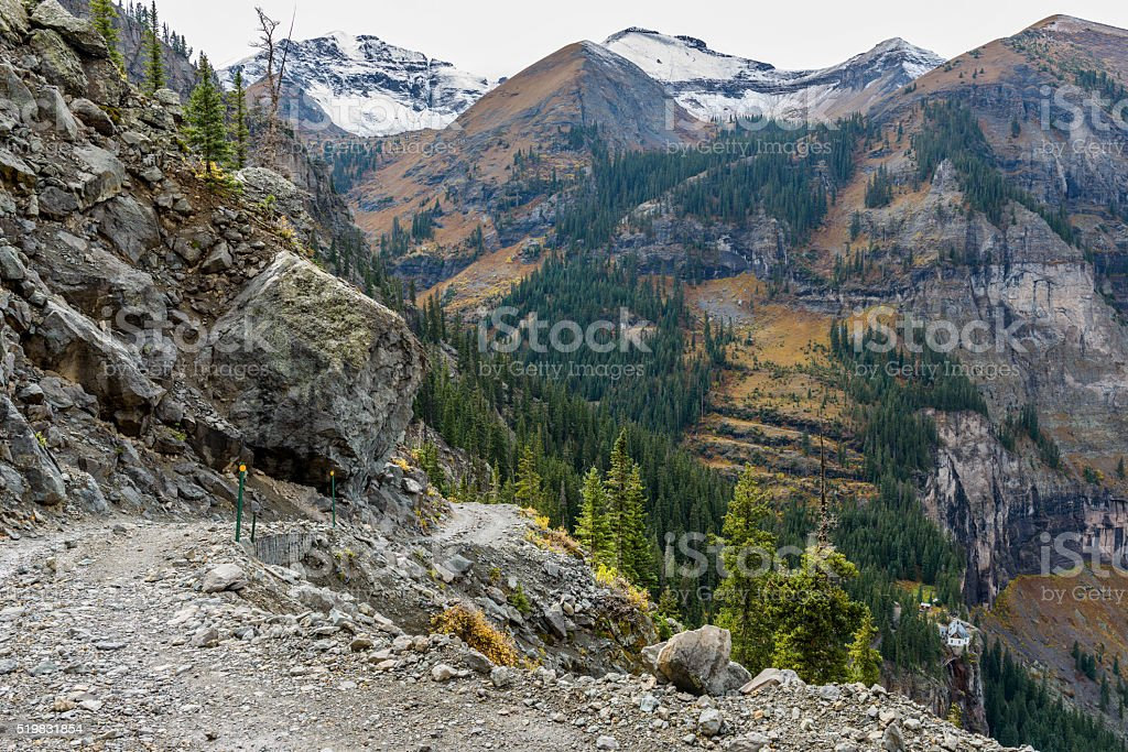 Rugged High Mountain Road stock photo