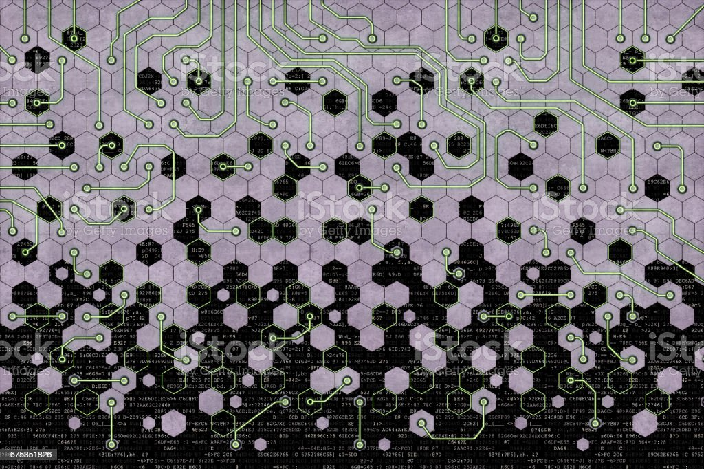 Rugged Honeycomb Circuitry stock photo