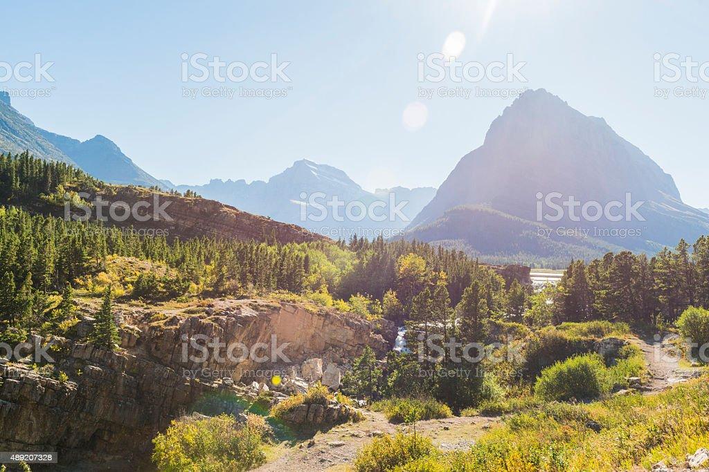 Rugged Many Glacier National Park Scenic Mountain Landscape Montana USA stock photo
