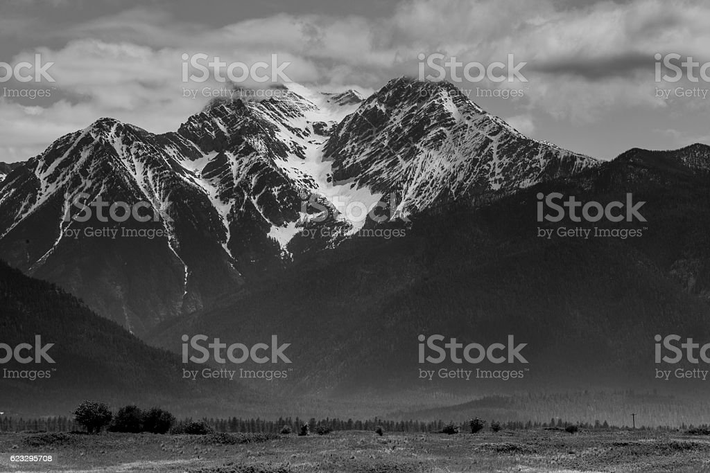 Rugged Mission Mountain Wilderness Landscape Rural Western Montana USA stock photo