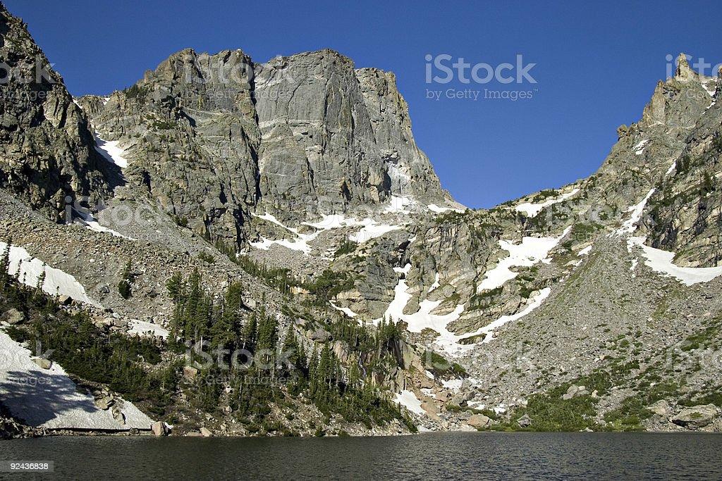 Rugged Mountain Peaks Surround Alpine Lake, Rocky Mountain National Park stock photo