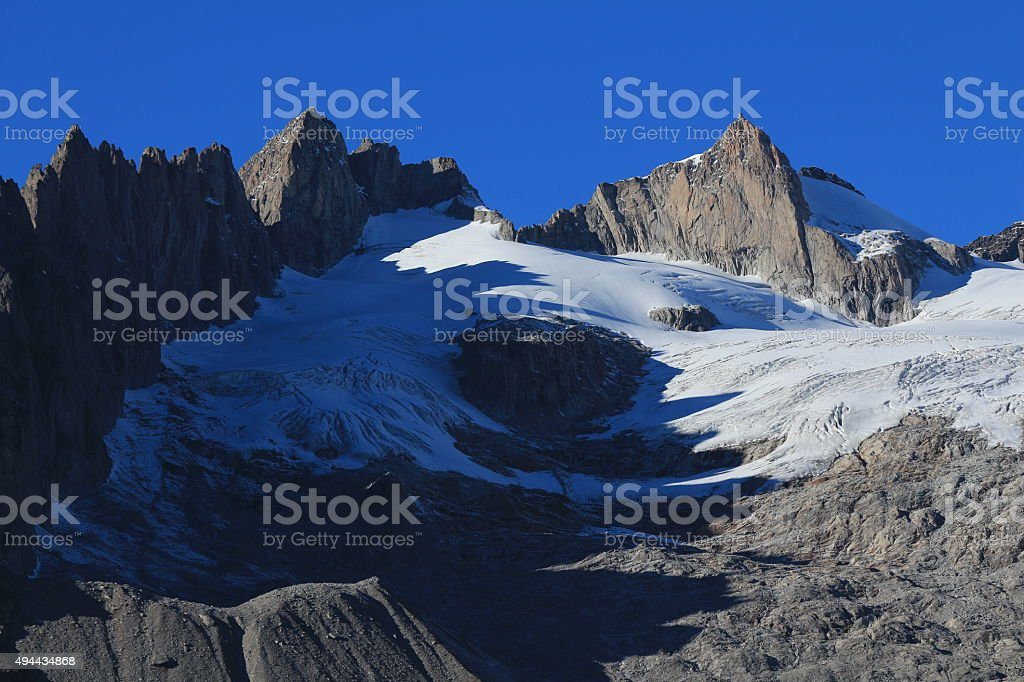 Rugged mountains and Driest Glacier stock photo