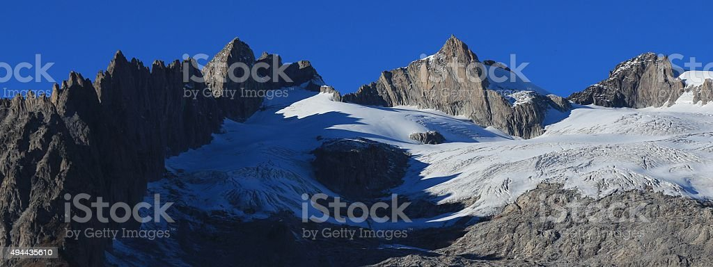 Rugged mountains Fusshorn and Rotstock stock photo
