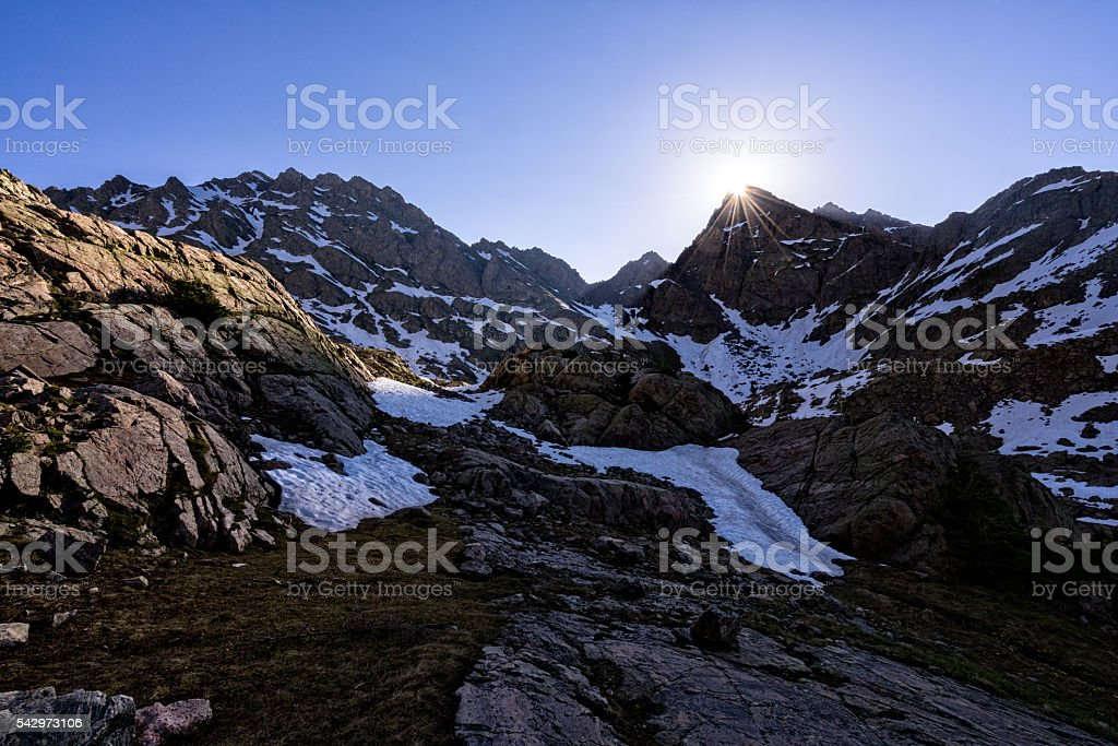 Rugged Mountains Gore Range Up Close stock photo