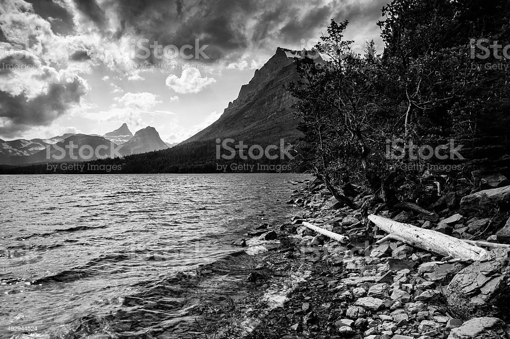 Rugged Mountains in Glacier National Park stock photo