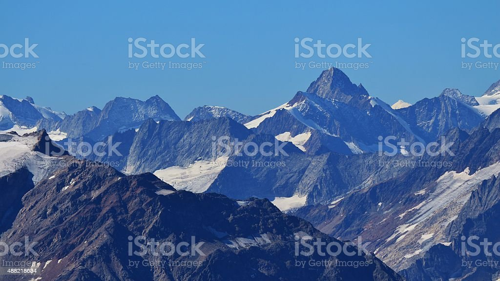 Rugged mountains in the Swiss Alps stock photo