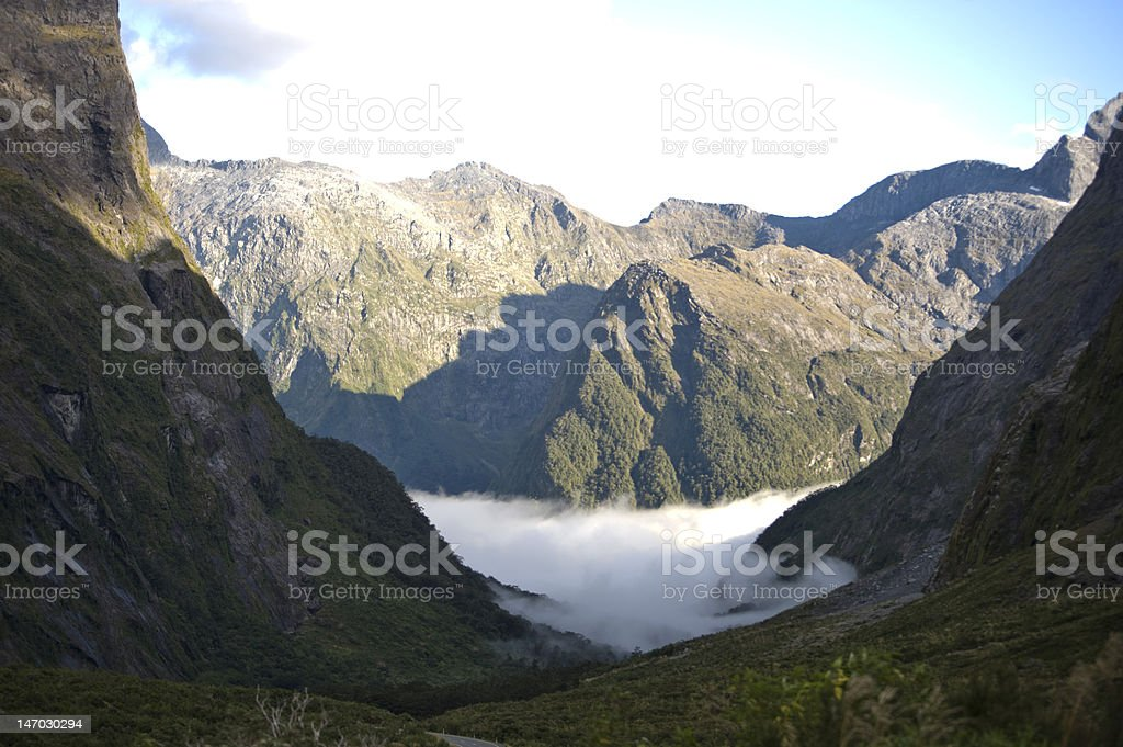 Rugged mountains with mist, New Zealand royalty-free stock photo