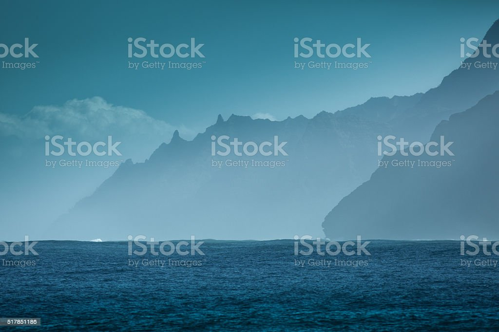 Rugged Na Pali Coast of Kauai Hawaii stock photo