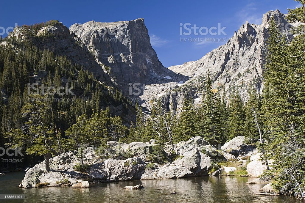 Rugged Peaks and Alpine Lake, Rocky Mountain National Park stock photo