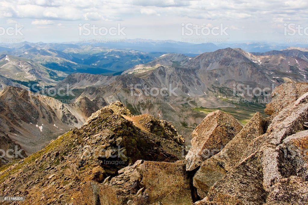 Rugged Peaks in the Colorado Wasatch Range mountains stock photo