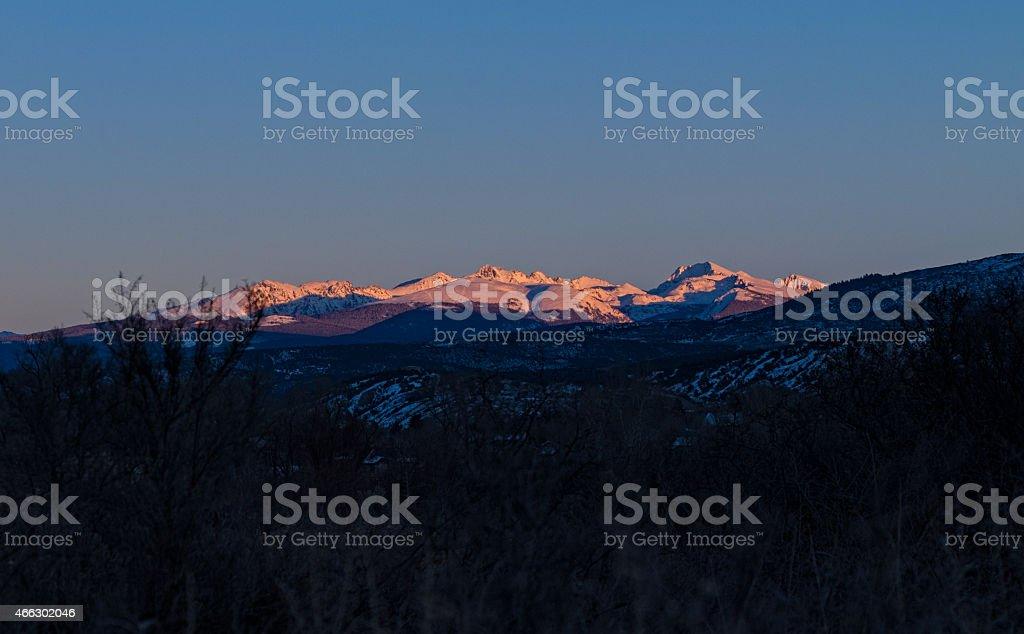 Rugged Sawatch Mountains at Sunset stock photo