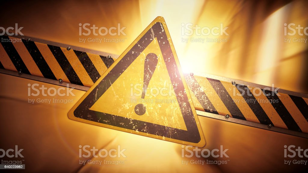 Rugged Security Barrier With Warning Sign In A Dynamic Environment stock photo