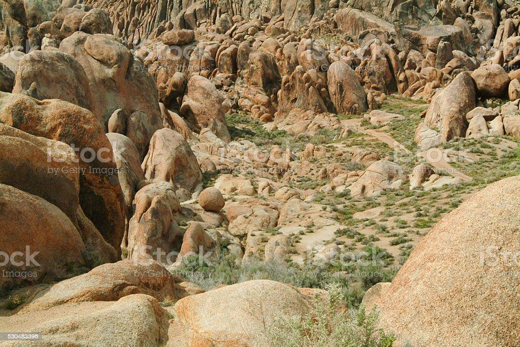 Rugged terrain at the Buttermilk Hills, Bishop, California stock photo