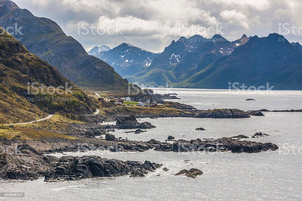 Rugged west coast of Norway's Vesterålen Islands stock photo